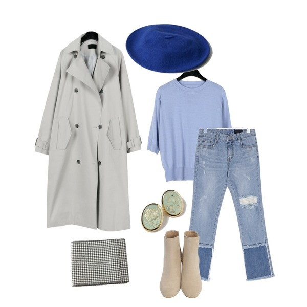 daily monday Classic double trench coat,UPTOWN HOLIC 셀럽청 pants,daily monday Cashmere half sleeve knit등을 매치한 코디