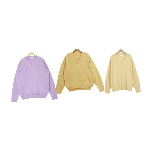 From Beginning Honey wool v-neck knit_S (size : free),TODAY ME [knit]레이먼 니트(데일리 컬러 브이넥 루즈 니트T),AIN minky color knit등을 매치한 코디
