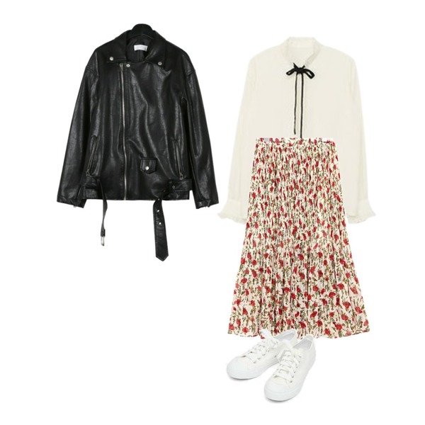 daily monday Chic simple rider jacket,MIXXMIX 프릴넥 리본 블라우스,common unique [SKIRT] ROSE CHIFFON PLEATS SKIRT등을 매치한 코디