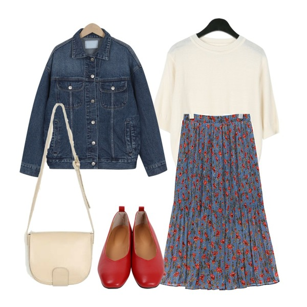 From Beginning Street washing denim jacket_H (size : free),daily monday Cashmere half sleeve knit,common unique [SKIRT] ROSE CHIFFON PLEATS SKIRT등을 매치한 코디