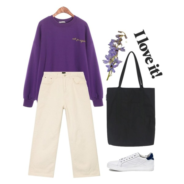 daily monday Daily pocket eco bag,AIN solid casual wide cotton pants (s, m),ROCOSIX again MTM등을 매치한 코디
