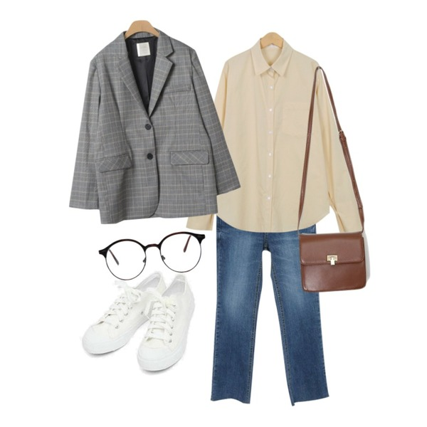 Zemma World Lucid-일자컷팬츠[size:25~29 / 1color],From Beginning Vanilla cotton shirts_H (size : free),AIN basic monday sneakers (230-250)등을 매치한 코디
