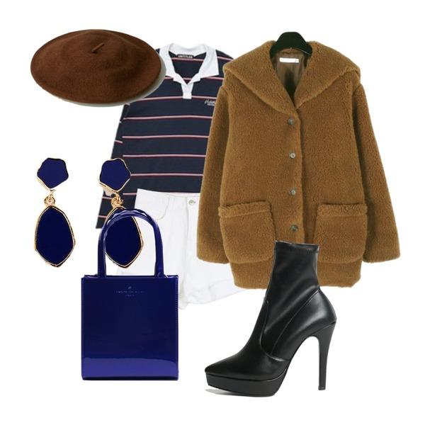 about moon 언발란스 반바지 (2 color),daily monday Sailor fuzzy warm jacket,MIXXMIX Long Stripe Collar Top등을 매치한 코디