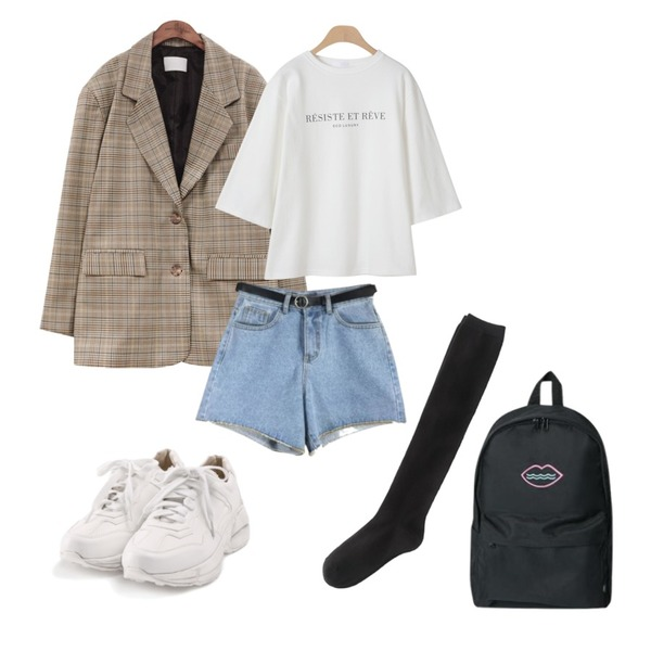 ROCOSIX active basic sneakers,common unique [OUTER] 2 TYPE BOXY FIT JACKET,OBBANG STYLE 에코 레터링 7부티셔츠등을 매치한 코디