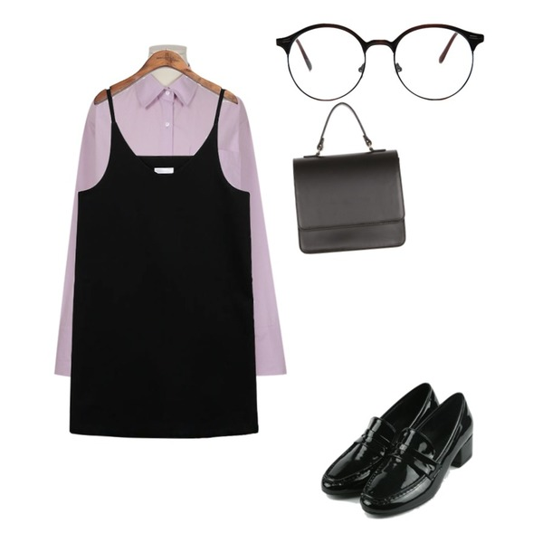 daily monday Classic daily loafer,common unique [OPS] 2 TYPE WITTY BUSTIER OPS,From Beginning Vanilla cotton shirts_H (size : free)등을 매치한 코디