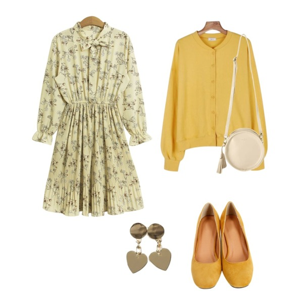 From Beginning Colorful sweat pumps heel_K(size : 225,230,235,240,245,250),daily monday Daily bagel cardigan,TODAY ME [dress]엘빈 플라워 원피스(리본끈 주름 플리츠 러블리 프릴 꽃OPS)등을 매치한 코디