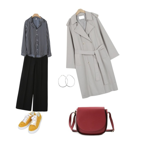 AIN joy color sneakers (225-250),From Beginning Robust daily trench coat_B (size : free),ROCOSIX grove round cross bag등을 매치한 코디