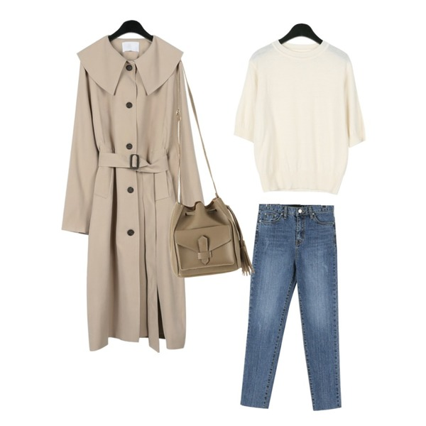 daily monday Cashmere half sleeve knit,daily monday Girlish slit trench coat,daily monday Wash cutting slim jean등을 매치한 코디