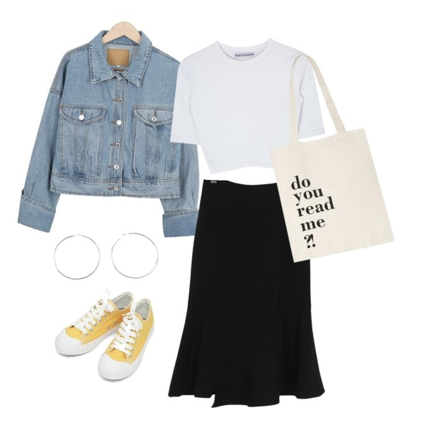 myblin 봄날준비 청자켓,From Beginning Layer flare mermaid skirt_S (size : S,M),AIN basic monday sneakers (230-250)등을 매치한 코디