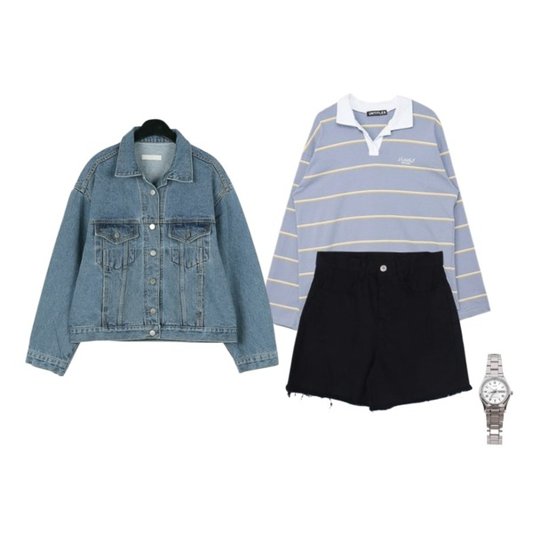 MESMIN 하프 코튼 pt (6color),daily monday Charming over denim jacket,MIXXMIX Long Stripe Collar Top등을 매치한 코디