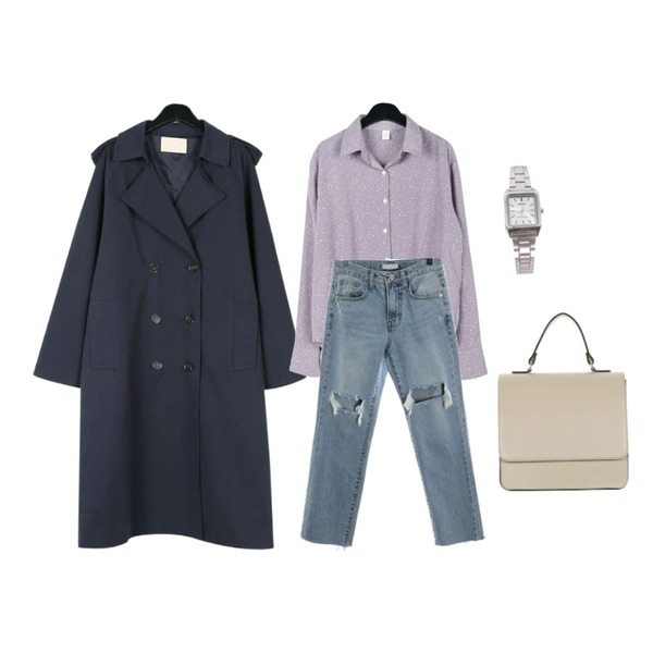 ROCOSIX fresh cutting denim PT,daily monday Lovely spring blouse,daily monday Everyday cotton trench coat등을 매치한 코디