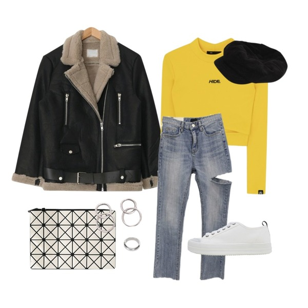 biznshoe Miyake clutch (3color),AIN basic rider leather mustang (2 colors),MIXXMIX HIDE Cross Slit Point Top등을 매치한 코디