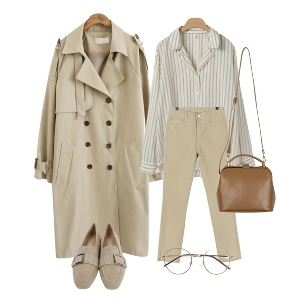 common unique [OUTER] DOUBLE BUTTUON BELT TRENCH COAT,daily monday Easy slim cotton skinny,OBBANG STYLE 비엔나 스트라이프 블라우스등을 매치한 코디