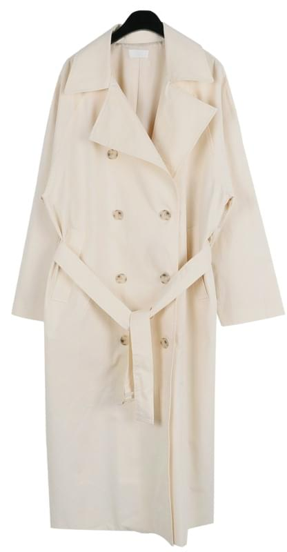 Button cross long trench coat