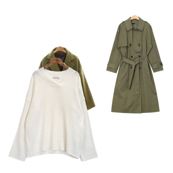AIN grow up daily trench coat,ROCOSIX stand wool double CT(quilting),common unique [TOP] 6 COLOR OVER V NECK KNIT등을 매치한 코디