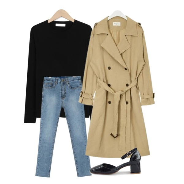 AIN FRESH A spring daily trench coat,From Beginning Herb basic spring knit_M (size : free),AIN grown straight denim pants (25-29)등을 매치한 코디
