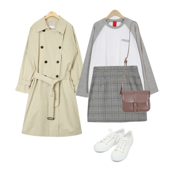 Reine 볼르 체크 미니스커트,AIN sleeve check point trench coat,From Beginning Like peace raglan T_M (size : free)등을 매치한 코디