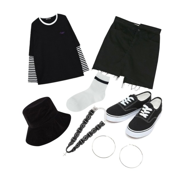 BANHARU unbalance cutting detail culottes pants,AIN daily casual sneakers (230-250),MIXXMIX Layered Long Sleeve Top등을 매치한 코디