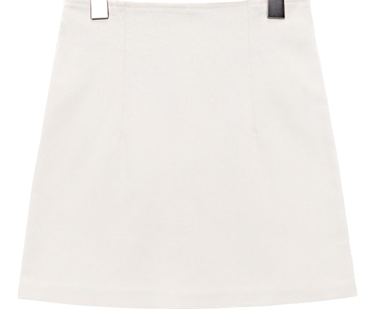 CREAM H LINE MINI SKIRT