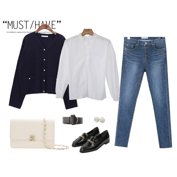 Untitled,daily monday Deep color denim skinny,common unique [OUTER] V NECK KNIT PEARL CARDIGAN등을 매치한 코디