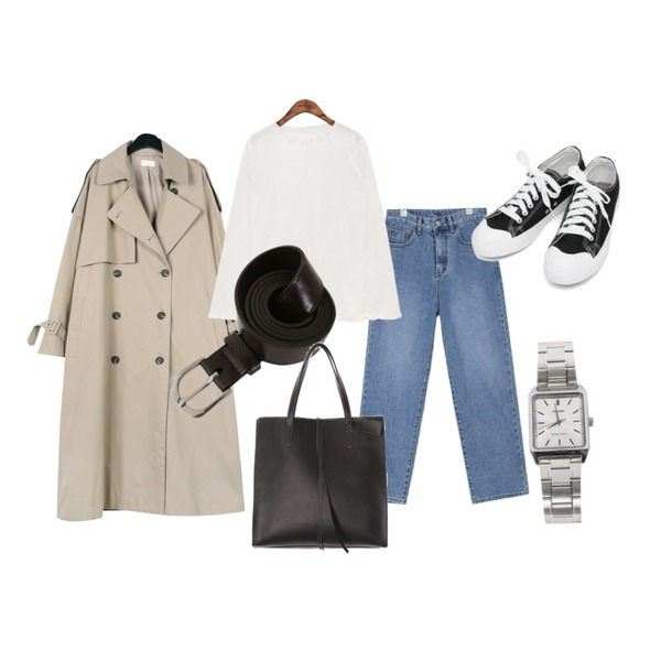 daily monday Over casual trench coat,AIN basic monday sneakers (230-250),AIN mento wide denim pants (s, m)등을 매치한 코디