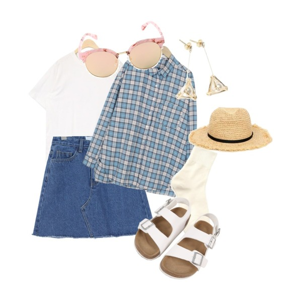 From Beginning Marshmallow check shirts_B (size : free),AIN spring round pastel T,common unique [SKIRT] NATURAL CUTTING DENIM MINI SKIRT등을 매치한 코디