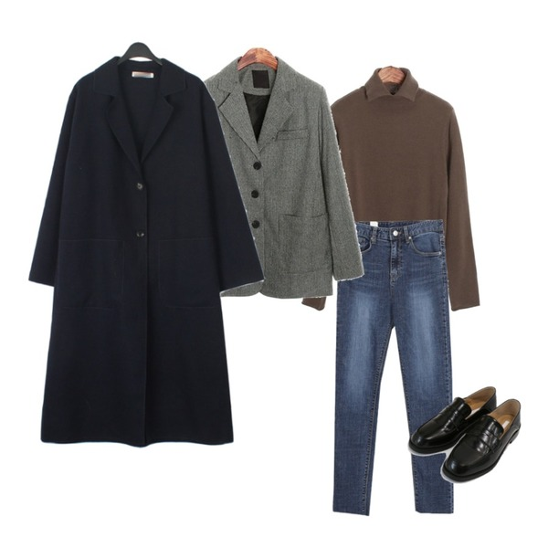 daily monday Classic basic square loafer,ROCOSIX collar wool pola KN,AWAB 티크하이일자팬츠등을 매치한 코디
