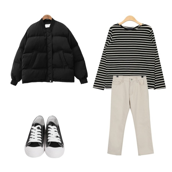 common unique [OUTER] LAVA PADDING JUMPER,AIN offer stripe T,From Beginning Paper straight cotton pants_H (size : S,M)등을 매치한 코디