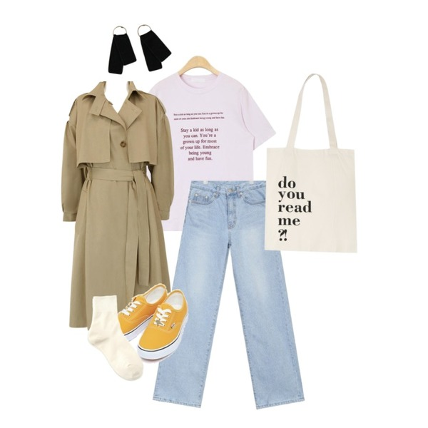 AIN lengthy wide denim pants (s, m),common unique [OUTER] CAPE STRAP LOOSE TRENCH COAT,AIN stay a kid typo T등을 매치한 코디