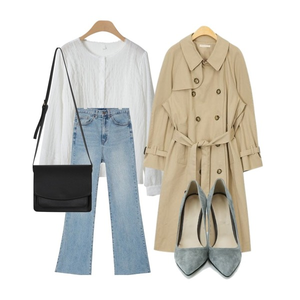 AIN miu classic trench coat,OBBANG STYLE 로랑 레이스 블라우스,AIN kaiser wide boots denim pants (s, m, l)등을 매치한 코디