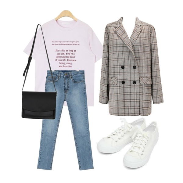 AIN stay a kid typo T,AIN grown straight denim pants (25-29),common unique [OUTER] FRENCH CHIC CHECK JACKET등을 매치한 코디