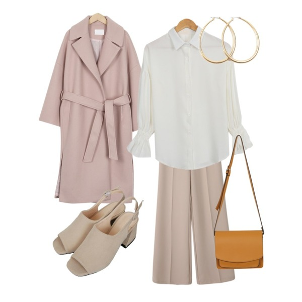 Zemma World Chunky-슬링백[size:225~250 / 4color],From Beginning Belted lapel long coat_K (size : free),Reine 젠틀 와이드 슬랙스등을 매치한 코디