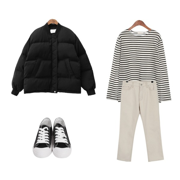 common unique [OUTER] LAVA PADDING JUMPER,From Beginning Paper straight cotton pants_H (size : S,M),ROCOSIX cherry stripe T등을 매치한 코디