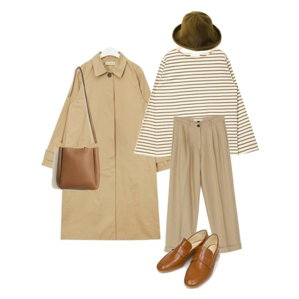 BANHARU basic wool pintuck slacks,AIN boat neck stripe T,AIN FRESH A modern single trench coat등을 매치한 코디