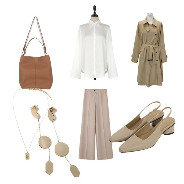 common unique [OUTER] SINGLE BUTTON TRENCH COAT,Reine 젠틀 와이드 슬랙스,UPTOWN HOLIC 심플데이 bl (*3color)등을 매치한 코디