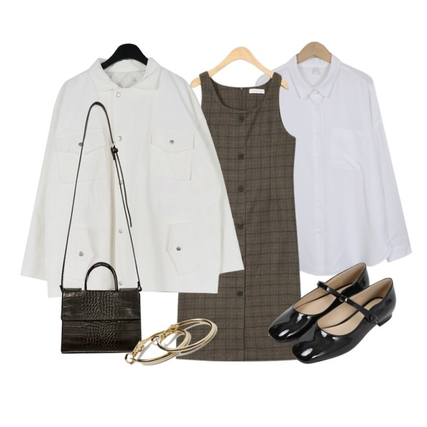 AIN blow button check ops,From Beginning Blush basic shirts_H (size : free),daily monday Dart over fit jacket등을 매치한 코디