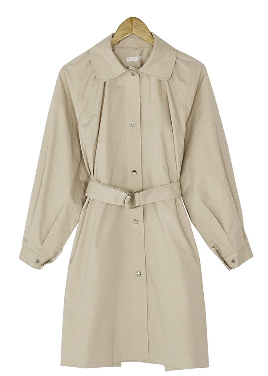 back shirring trench coat