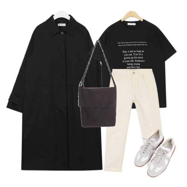 AIN SHALOM cotton pants (s, m, l),AIN stay a kid typo T,AIN FRESH A modern single trench coat등을 매치한 코디