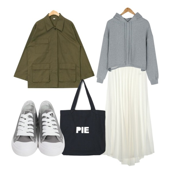 AIN sound pocket safari jacket,BANHARU cozy cotton crop hood,UPTOWN HOLIC 에디 플리츠 sk (*4color)등을 매치한 코디