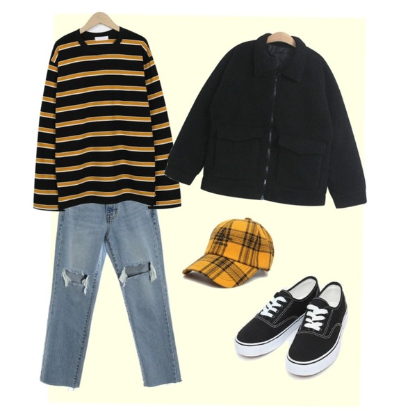 Yellow,ROCOSIX fresh cutting denim PT,From Beginning Triple color stripe T_S (size : free)[네이비, 블랙 27일 입고 후 순차적배송]등을 매치한 코디