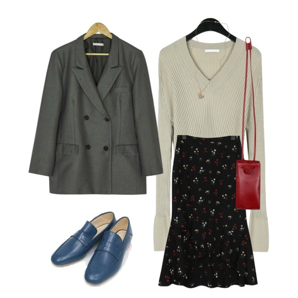 daily monday Mild slim v-knit,BANHARU over fit double jacket,From Beginning Floret unbal flare skirt_H (size : free)등을 매치한 코디