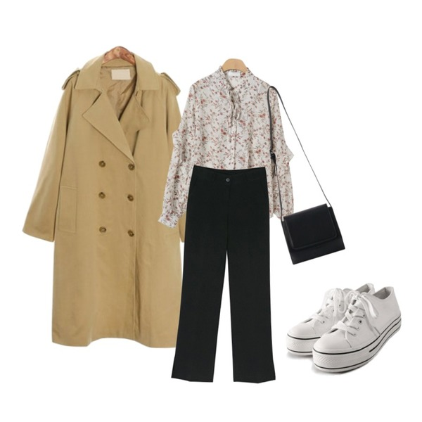 BANHARU slit point bootcut slacks,OBBANG STYLE 벤자민 플라워 블라우스,ROCOSIX swirl basic trench CT등을 매치한 코디