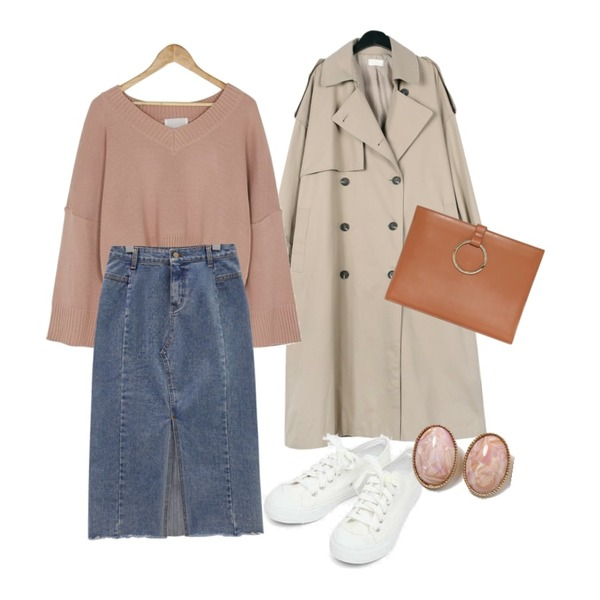 BANHARU feminine knit & skirt set,common unique [SKIRT] SLIT WASHING DENIM LONG SKIRT,daily monday Over casual trench coat등을 매치한 코디