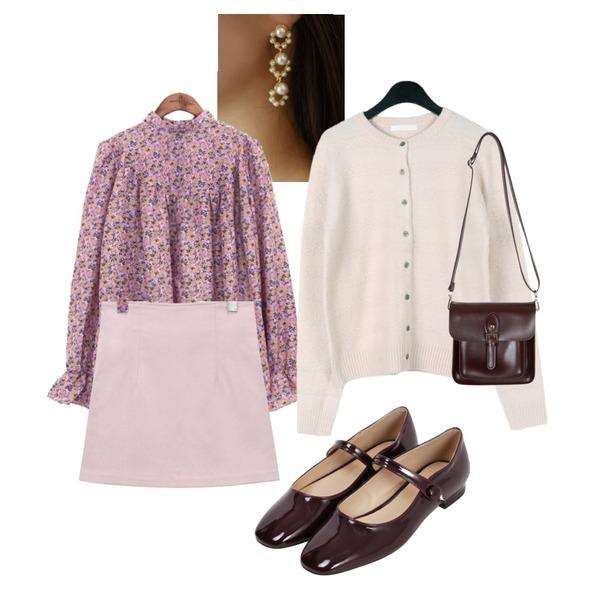 common unique [TOP] PANSY FLOWER SHIRRING BLOUSE,OBBANG STYLE 꽃잎 진주 이어링,daily monday Twist cable puffy cardigan등을 매치한 코디