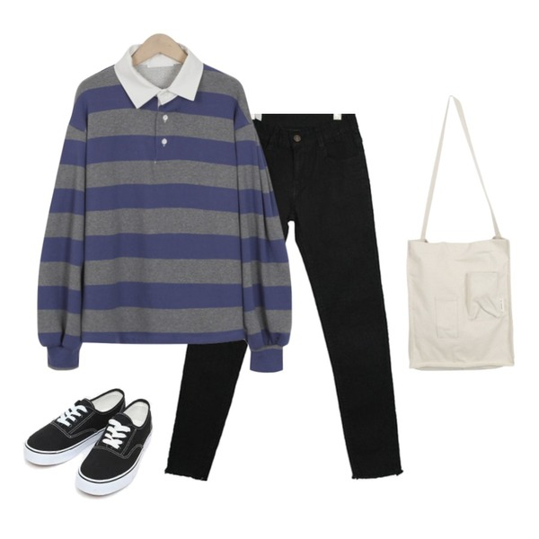 about moon 소프트 블랙 스키니진,AIN daily casual sneakers (230-250),From Beginning Stripe button collar T_H (size : free)등을 매치한 코디