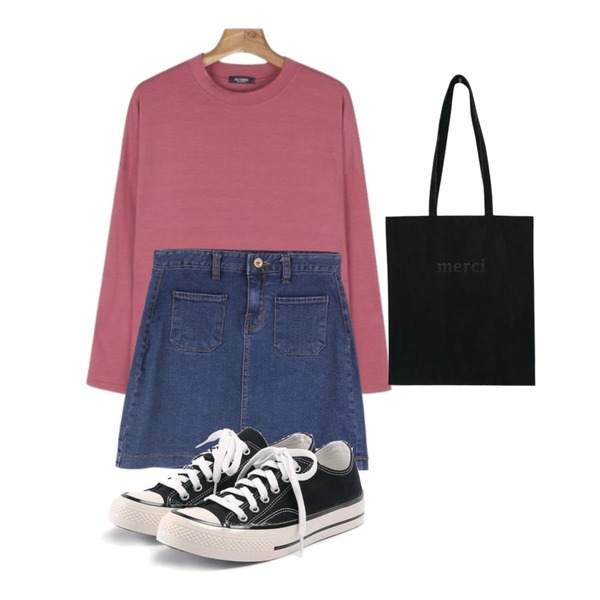 ABLY 벌써일년 스커트,daily monday Daily unbal half-neck tee,ROCOSIX simple coton sneakers등을 매치한 코디