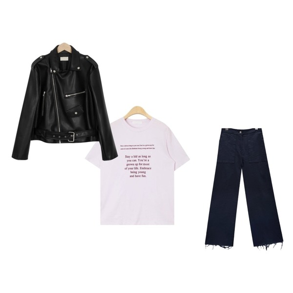 From Beginning Outfit rider jacket_M (size : free),AIN stay a kid typo T,common unique [BOTTOM] VINTAGE CUTTING BANDING PANTS등을 매치한 코디