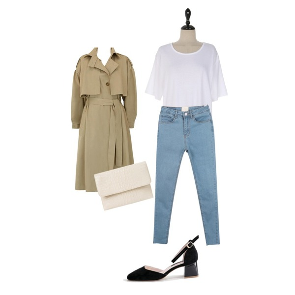 myblin 밑단 컷팅 스키니진 (3color),common unique [OUTER] CAPE STRAP LOOSE TRENCH COAT,UPTOWN HOLIC 델몬드 t (*5color)등을 매치한 코디