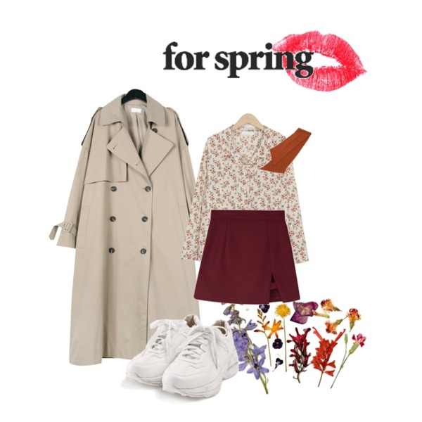 dry flowers,lips,daily monday Over casual trench coat등을 매치한 코디