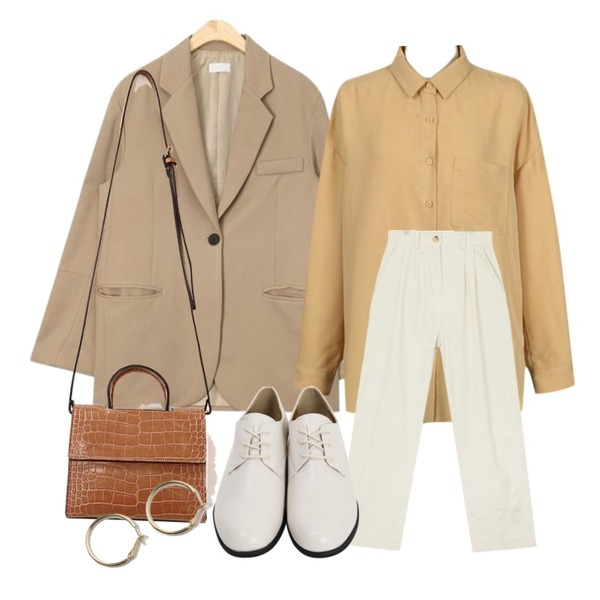 From Beginning Blush basic shirts_H (size : free),AIN main roll up pants (s, m),AIN to single button jacket등을 매치한 코디